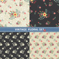 Seamless pattern set flowers branches berries in retro style cute floral stylized arrangement with paisley vintage illustration Royalty Free Stock Image