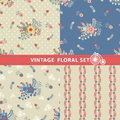 Seamless pattern set flowers branches berries in retro style cute floral stylized arrangement with polka dot vintage illustration Royalty Free Stock Images