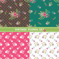 Seamless pattern set flowers branches berries in retro style cute floral stylized arrangement with polka dot vintage illustration Stock Images