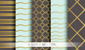 Seamless pattern set in gold for scrapbooking paper. Vintage style vector design templates. Vector Royalty Free Stock Photo