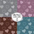Seamless pattern set with hand drawn doodle hearts, vector illustration, Abstract background