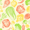 Seamless pattern with set of hand drawn elements. Sketch style fresh vegetables. Appetizing colors