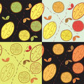 Seamless pattern set with lemon Stock Photos