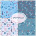 Seamless pattern set with sea themed accessory.