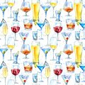Seamless pattern of a shampagne,martini,whiskey,vodka, wine,liquor, beer, cognac and cocktail. Royalty Free Stock Photo