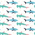 Seamless pattern with shark and hammer fish.