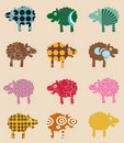 Seamless pattern with sheep Royalty Free Stock Photo