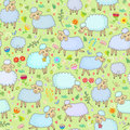 Seamless pattern with sheep a flock of in the pasture Royalty Free Stock Photo