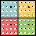 Seamless pattern with sheep set of colorful backgrounds cute Stock Images