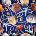 Seamless pattern with shells, coral and chains. Marine motif background. Pattern in nautical style with sea shells