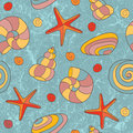 Seamless pattern with shells and starfish Stock Photo