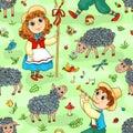 Seamless pattern with shepherd girl and shepherd boy cartoon vector background Royalty Free Stock Image