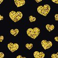 Seamless pattern of shiny hearts on black background. Vector illustration