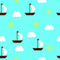 Seamless pattern of ships, sun and clouds