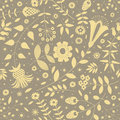 Seamless pattern with silhouette decorative picture flowers, plants, leaves and small circles.