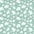 Seamless pattern with of falling leaves of a tree: maple, oak leaf and acorn. Royalty Free Stock Photo
