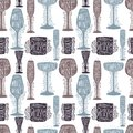 stock image of  Seamless pattern of silhouette images of glass glasses for different drinks. Shape stemware lettering text