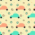 Seamless pattern with silhouette of retro cars and abstract circles
