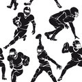 Seamless pattern with silhouettes of american football players isolated on white Royalty Free Stock Photography