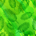 Seamless pattern with silhouettes of the decor of palm leaves. Organic wallpaper with outline leaves. Green natural