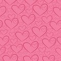 Seamless pattern with silhouettes of hearts pink background Stock Photos