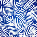 Seamless pattern with silhouettes of palm tree leaves in black on white background. Royalty Free Stock Photo