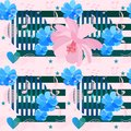 Seamless pattern with simple elements in memphis style, musical symbols, hearts, stars and beautiful pink and blue cosmos flowers