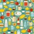 Seamless pattern with simple food. Royalty Free Stock Photo