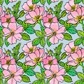 Seamless pattern of sketch dogrose with watercolor