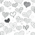 Seamless Pattern Sketch Romantic Love Hearts Retro Doodles Icons Set Valentine s Day Vector Illustration