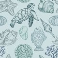 Seamless pattern with sketch of sea shells, fish, corals and turtle. Hand Drawn illustration. Seal Ocean life