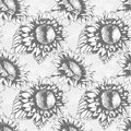 Seamless pattern with sketch style sunflowers