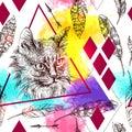 Seamless pattern sketching of cat.