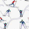 Seamless pattern skiing in winter