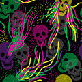 Seamless pattern with skull Stock Images