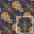 Seamless pattern skull abstract swirls ornamental flow from one to another Royalty Free Stock Photography