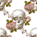 Seamless pattern skull with flowers Royalty Free Stock Photo