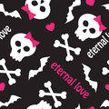Seamless pattern with skulls bones and hearts on a black background Royalty Free Stock Photo