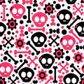 Seamless pattern with skulls funny Stock Photo