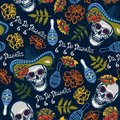 Seamless pattern with skulls in hats with maracas, flowers with marigolds.