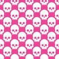 Seamless pattern with skulls on a rose quartz background. white on pink