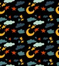 Seamless pattern with sky theme. Beautiful cartoon pattern with moon, clouds and stars.