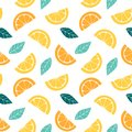 Seamless pattern with slices of citrus Graphic drawing of orange, lemon and leaves.