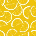 Seamless pattern with slices of lemons. Citrus background. White linear drawing on yellow backdrop