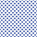 Seamless pattern of small blue hearts on white background.