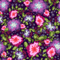 Seamless pattern of small bouquets pink and blue flowers , violet berries green leaves. vector print on  background. Royalty Free Stock Photo