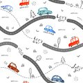 Seamless pattern with small cars and road signs on white background