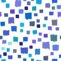 Seamless pattern with small hand painted squares blue color abstract . Vector, geometric.