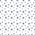 Seamless pattern of small lilac flowers on white background. Geranium pratense