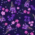 Seamless pattern of small spring field flowers in pastel colors